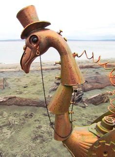 Steampunk flamingo  handmade garden art sculpture by CedarMoon, $70.00