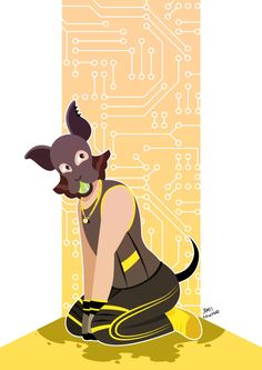 Pup Pixel by Striped Hare Omg this is so adorable! Invader Zim Characters, Dog Mask, Puppy Play, Graphic Illustration, Scooby Doo, Halo, Latex, Hoods, Pony