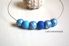 Perfect pearly blue necklace/Unique handmade blue by GATODesign