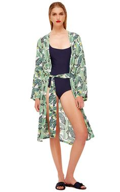 This **Masini & Chern** Banana Leaf Robe features a loose fit as well as a matching garment bag.