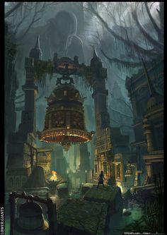 More fantasy ruins, a theme I'm going for Fantasy City, Fantasy Places, Fantasy World, Dark Fantasy, Fantasy Concept Art, Fantasy Artwork, Environment Concept Art, Environment Design, Fantasy Landscape