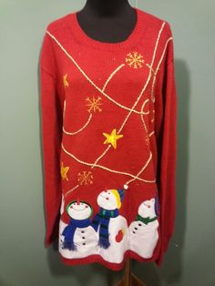 Holiday Editions UGLY NWT Red Gold Star Snowflake Snowman Christmas Sweater XL  #HoliidayEditions #Crewneck $34 Free Shipping!