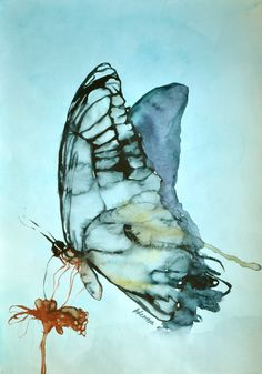 Blue butterfly watercolor original painting. by AlisaAdamsoneArt