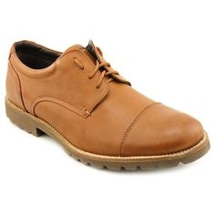 $79, Channer Tan Leather Oxfords Shoes by Rockport. Sold by buy.com. Click for more info: http://lookastic.com/men/shop_items/81601/redirect