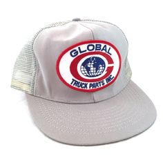 Vintage Gray Trucking Trucker Style Cap, Global Truck Parts Inc Snapback Hat, Red White and Blue Patch Hat, Mesh Back Hat, Globe Patch