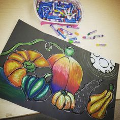 Link to healthy food. Still life of fruit with pastels.