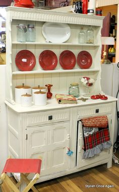 Painted Hutch with red plates. would look great with my French country/ farmhouse chic rooster stuff