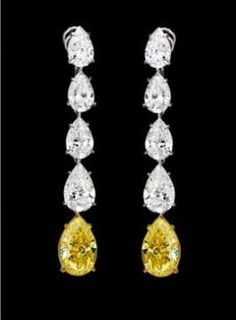 Leviev Yellow and White Diamond Earrings (=)