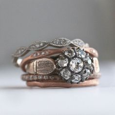 A mix of vintage and new for a truly custom stack | Visit our Instagram profile link to Shop the Look | Sofia Kaman
