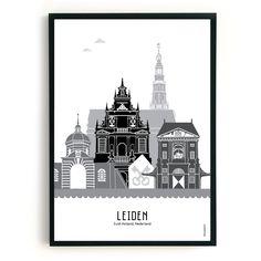 Poster Leiden in kleur - MevrouwEmmer. Leiden, Skyline, Batman, Shapes, City, Drawings, Posters, Instagram, Bullet Journals