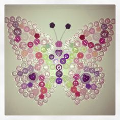 Piece 1 of 2.  Butterfly button design.  Inspired by the 'Bella Butterfly' bedroom set from Laura Ashley.  Fantastic request from a customer. I've had so much fun making this. Now to make another but different style with same colourings.