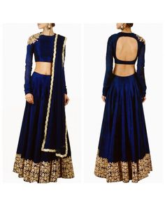 Buy Navy Blue Embroidered Lehenga Choli With Dupatta For Women - Bogglingshop