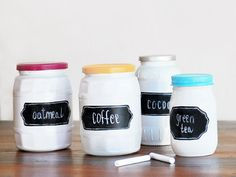 Chalkboard paint on ordinary jars turns them extraordinary.