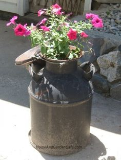 Old milk can garden container ~ i've got one of my grandfather's in my attic. time to put it to good use.