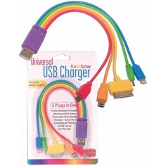 The Universal USB Rainbow Charger is just the perfect item you want to have around when you need to charge any one of the multiple electronic devices that most