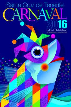 Cartel del Carnaval de Santa Cruz de Tenerife 2016. Titulo: un chicharro arlequinado