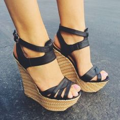 Buy fashion wedges shoes from shoespie. It offers you some cheap wedge shoes of different styles:printed wedge heels, strappy wedges boots, summer wedge sandals are standing for good quality. Black Wedge Sandals, Wedge Heels, High Heels, Black Wedges, Strappy Wedges, Shoe Wedges, Sexy Heels, Heeled Boots, Shoe Boots