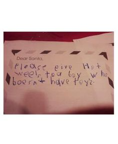 Dear Santa,Please give Hot Weels to a boy who doesn't have toys.via RedBessBonneyShare This on Faceb... - Mom.me