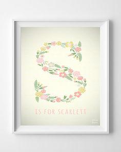 Custom Baby Name Scarlett Art Letter S Monogram by InkistPrints, $11.95