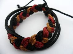 Leather and Cotton Ropes Woven Cuff Bracelet 81A by accessory365, $3.00