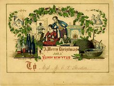 An early American Christmas card, printed around the year 1850.<br />