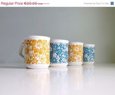 Mid Century Modern Floral Mugs  Tams UK  Honey by mungoandmidge