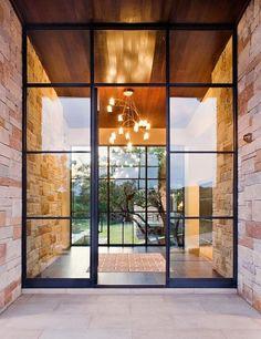 New modern glass front door Ideas Exterior Doors With Glass, Glass Front Door, Glass Doors, Steel Doors And Windows, Black Windows, Front Door Design, Window Design, Entrance Design, My New Room