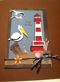 So proud of my 9 year old grandson. He made this cute little card using cut outs from Life's a Beach Cricut.