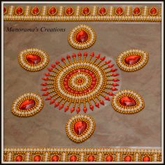 Floor Art - Kundan Rangoli Designs studded with Large Tear Shaped Red Kundan Stones, Lab Synth Glass Pearls and Gold Plated Bead Liners! Thali Decoration Ideas, Board Decoration, Diwali Decorations, Rangoli Patterns, Rangoli Designs, Bead Embroidery Patterns, Beaded Embroidery, Acrylic Rangoli, Hand Work Blouse Design