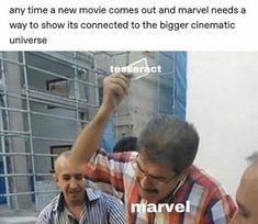 Any time a new movie comes out and marvel needs a way to show its connected to the bigger cinematic universe - iFunny :) Funny Marvel Memes, Dc Memes, Marvel Jokes, Avengers Memes, Marvel Heroes, Marvel Avengers, Marvel Comics, Funny Memes, Hilarious