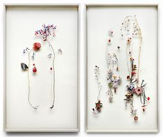 Flower constructions by Anne Ten Donkelaar. I like how they are framed with space around them.