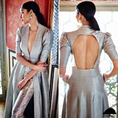 Anita Dongre gota patti raw silk darshika jacket and mahita pants. Indian Suits, Indian Attire, Indian Wear, Anita Dongre, Kurta Designs, Blouse Designs, Silk Jacket, Silk Pants, Indian Couture