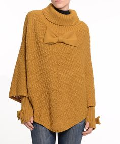 Loving this Mustard Thumbhole-Sleeve Poncho - Plus on #zulily! #zulilyfinds