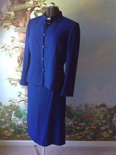 Kasper Petite Long Sleeve Blue  Skirt Suit  Size 14P #Kasper #SkirtSuit