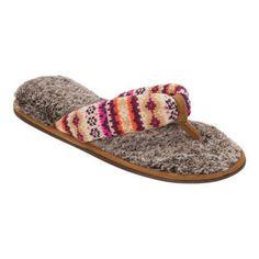 Women's Dearfoams Sweater Thong Slipper with Pile Sock Warm Combo