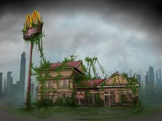 Post-Apocalyptic McDonalds by fab00m. #postapocalyptic #Art #gosstudio .★ We recommend Gift Shop: http://www.zazzle.com/vintagestylestudio ★