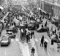 1st morning after Sweden changed from driving on the left side to driving on the right side, 1967