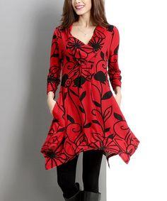 Loving this Red Flower Shawl Collar Handkerchief Tunic on #zulily! #zulilyfinds