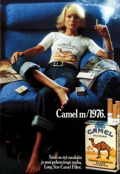 Finnish Camel Cigarette Ad, 1976. Vintage Cigarette Ads, Vintage Ads, Women Smoking, Girl Smoking, Famous Ads, Malboro, Marlboro Cigarette, Good Old Times, Commercial Ads