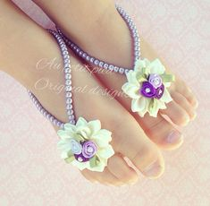 Baby barefoot sandals, Victorian baby , baby shower gift, newborn photo prop, lavender, christening, baptism, baby shoes, barefoot sandals on Etsy, $18.99