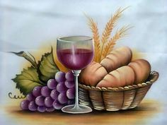 Encontrado en Facebook Church Banners, Wine Art, Jesus Pictures, Painted Books, First Holy Communion, Corpus Christi, Fruit And Veg, Christen, Fabric Painting