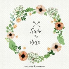 Aquarell Hochzeit Blumenkranz