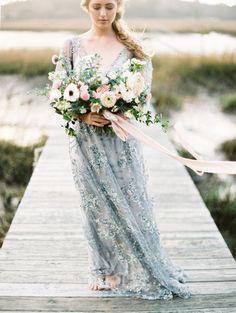 Pantone Serenity and Rose Quartz wedding dress color pairing