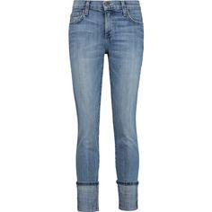 Current/Elliott The Cuffed Skinny mid-rise jeans (£113) ❤ liked on Polyvore featuring jeans, bottoms, mid denim, cuffed jeans, blue jeans, denim skinny jeans, skinny leg jeans and rolled cuff jeans