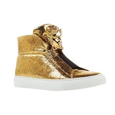 These iconic sneakers in gold laminated leather are both luxurious and easy to wear. The bold Medusa head adds an unmistakable #Versace signature.