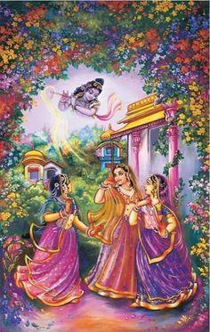 Gopis are dancing in the love of Krishna : A painting … Lord Krishna Images, Radha Krishna Pictures, Radha Krishna Photo, Krishna Art, Krishna Leela, Jai Shree Krishna, Radhe Krishna, Holi Special, Radha Krishna Wallpaper