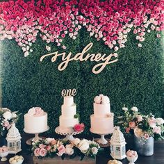 """Nothing makes me happier than when clients send me pictures of our work all dressed up! """"sydney"""" was custom drawn, laser cut, and then painted gold for a sweet baby girl's 1st birthday. Thank you @tkim55 for sending this picture over! I am in love with with this entire set up! The pink ombré florals are to die for! Her amazing team included @ellenkusc @california_floral @letterstou @deb.oh @cakecreamery #sydneyisone #firstbirthday #dohl #letterstou #handdrawn #handlettering #lasercut #custom"""
