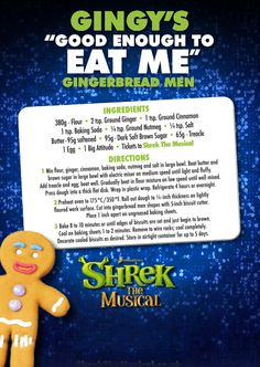 Get in the mood for SHREK THE MUSICAL with this Gingy cookie recipe: