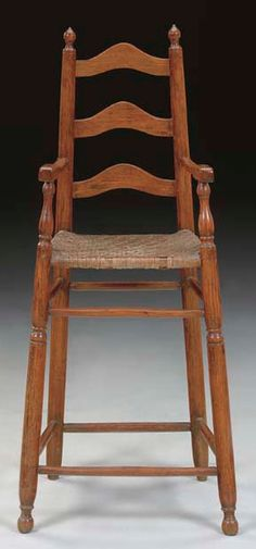 A CHILD'S WILLIAM AND MARY SLAT-BACK HIGH CHAIR   NEW ENGLAND, 1720-1740   37½ in. high