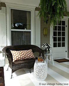 Love the painted stripes on the porch! )From one of my favorite blogs, Our Vintage Home Love!)